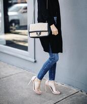 krystal schlegel,blogger,shoes,jeans,sweater,t-shirt,bag,sandals,sandal heels,chanel bag