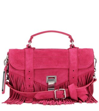 bag shoulder bag suede pink