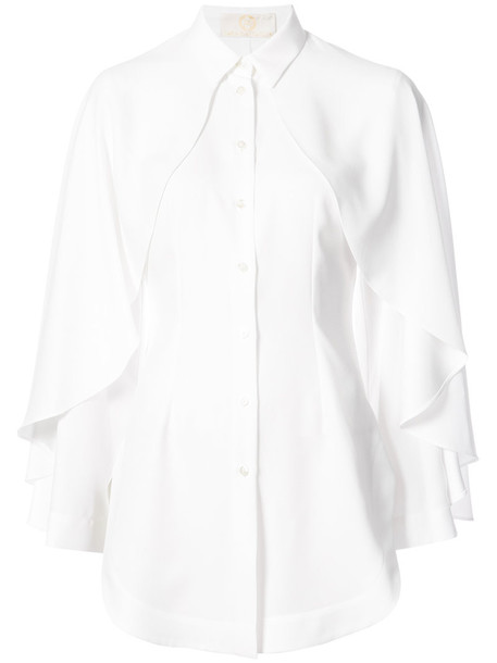 Sara Battaglia - cape shirt - women - Polyester - 46, White, Polyester