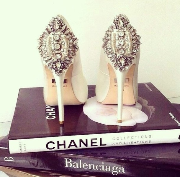 shoes white pigalle crystal crystalized edgy hot prom heels white high heels high heels glitter bling silver gold chanel rhinestones chanel shoes classy french touch