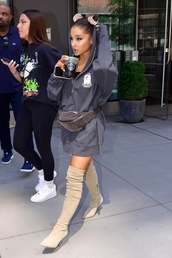 sweater,ariana grande,hoodie,summer,summer outfits,belt bag,thigh high boots,knee high boots,hoodie dress,bag,shoes