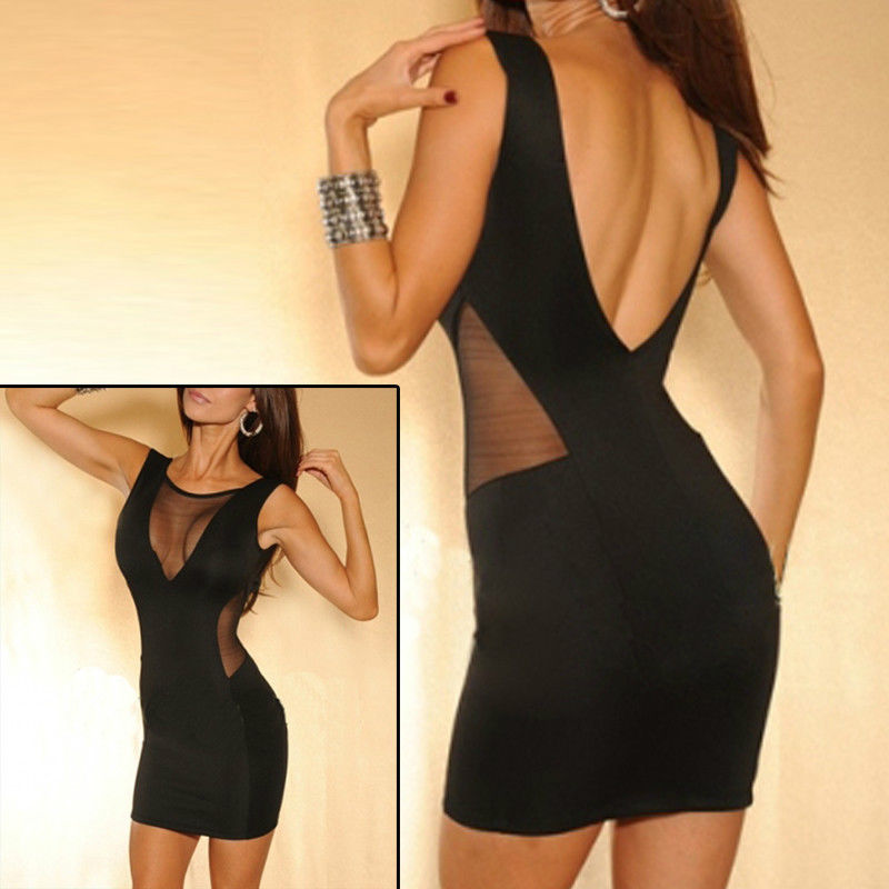 New Sexy Women Party Cocktail Dress Skirt Low Cut Hip Wrapped Trendy Black Color | eBay