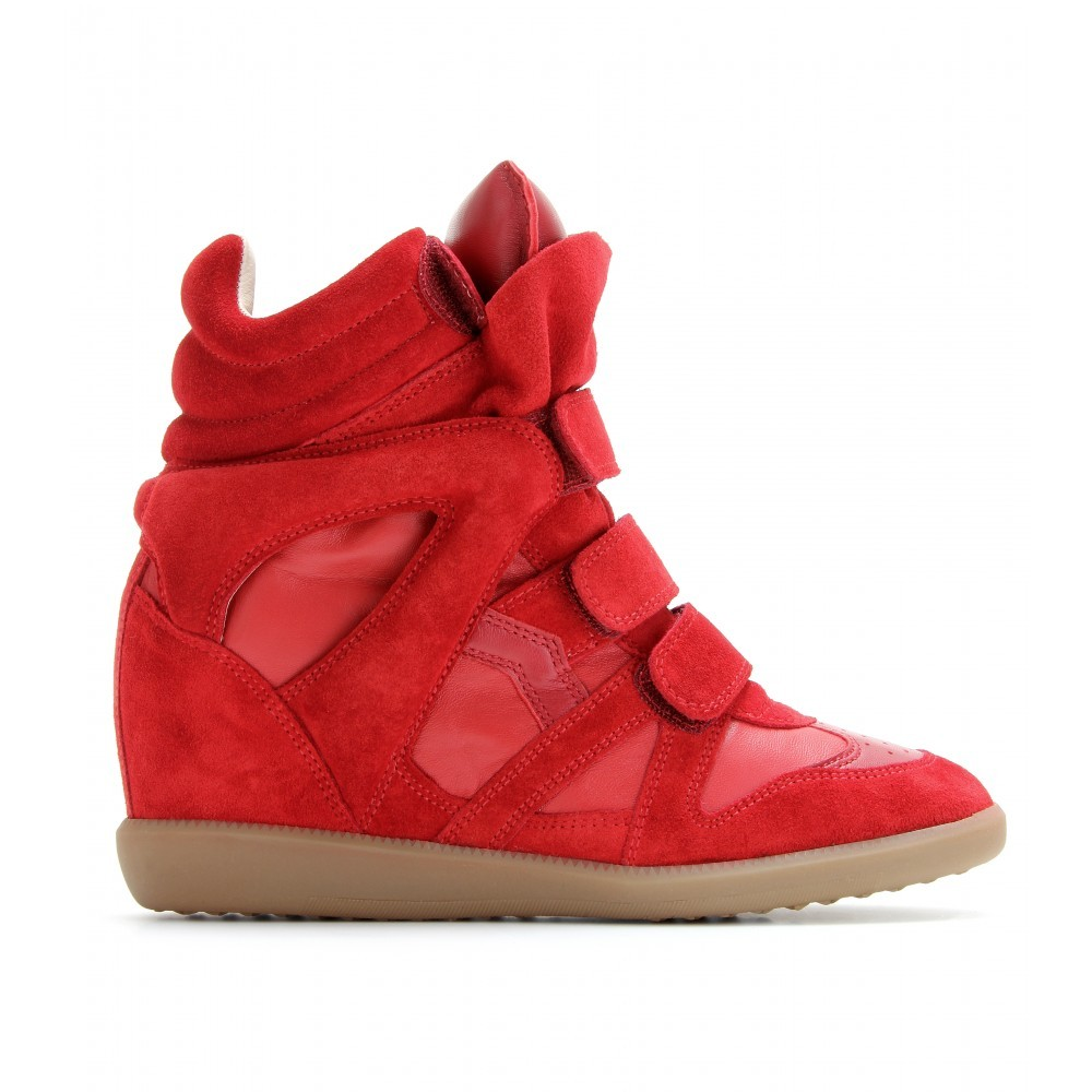 Isabel Marant Red Bekett Suede Wedge Sneakers - Shoes - Women