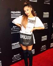 dress,moschino,party,ariana grande,vma,fashion,style,t-shirt dress,black and white dress