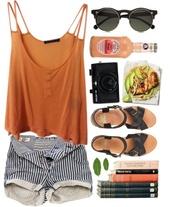 shirt,shorts,striped shorts,tank top,sunglasses,shoes,t-shirt,vertical stripe short,summer outfits,alcohol,black sunglasses,sandals,boohoo.com,blouse,tan,strappy