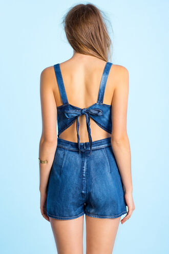 romper denim back lace jumpsuit shortalls jeans blue