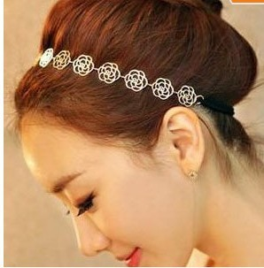 Lovely Chain Elastic Hollow Out Rose Flower Stretch Hair Band Headband Metallic Wholesale  accessories hair  hair accessory-in Hair Accessories from Apparel & Accessories on Aliexpress.com