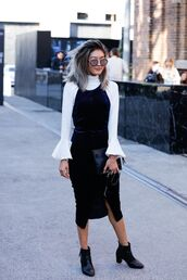 dress,bell sleeve shirt,sexy dress,velvet slip dress,black ankle boots,blogger,date outfit,round sunglasses