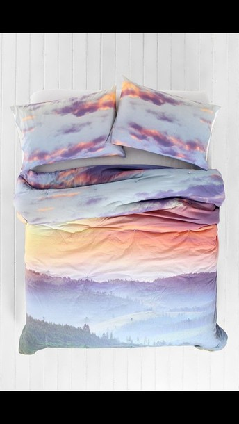 bag sunset clouds bedding bedspread bedcover sunset print holiday gift bedding sky bedcover pajamas beautiful blanket bedding cute pink white blue purple orange pastel hair accessory top blouse grunge wishlist home accessory bedroom bedding bedroom landscape bedding hipster girly gloves room bed