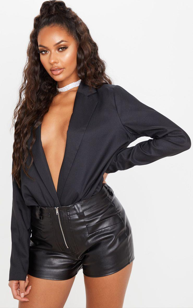 Black Faux Leather Zip Front Short