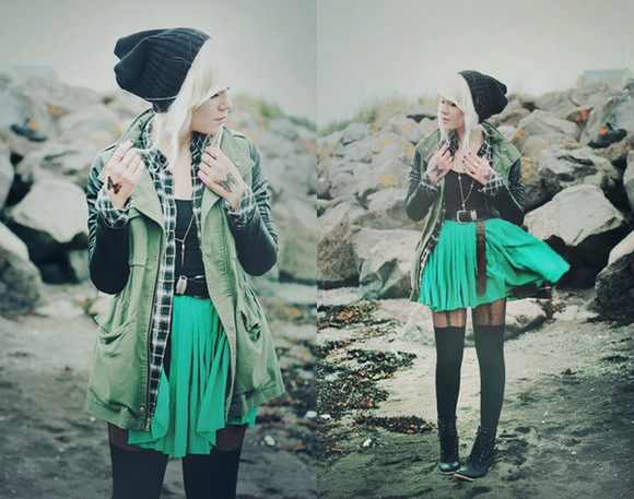 skirt chiffon blouse belt necklace shoes jacket military army green skrt tights hearts hat beenie black leather boots military jacket sunglasses