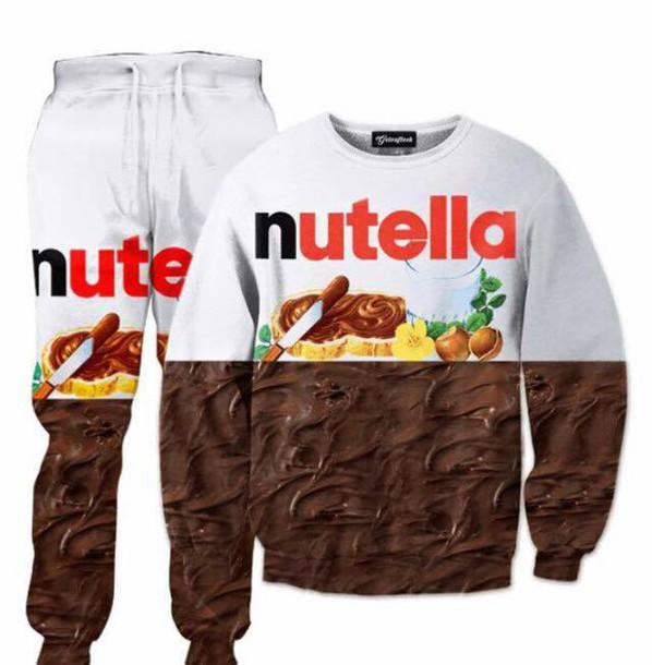 Sweater: nutella, sweatshirt, sweatpants, nutella t-shirt