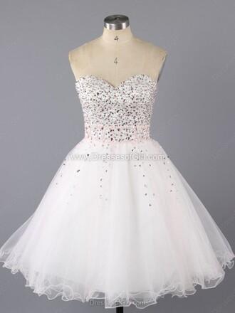 dress a-line sweetheart tulle skirt short mini ruffle prom dress