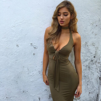 dress fashion olive green bodycon dress sexy summer hot trendy tan party dress ogvibes girl cute girly girly wishlist bodycon sexy dress choker dress cute dress
