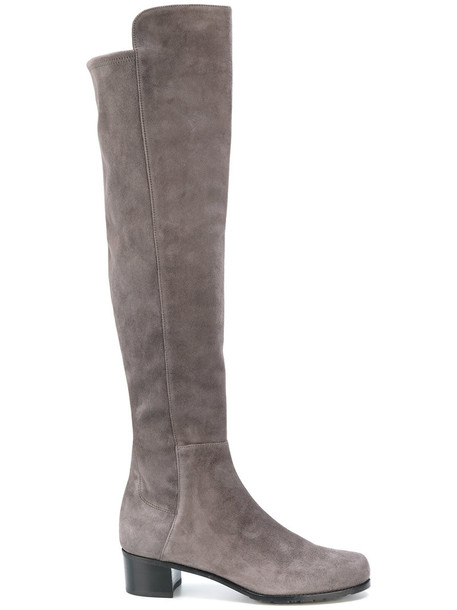 STUART WEITZMAN high women knee high knee high boots leather grey shoes