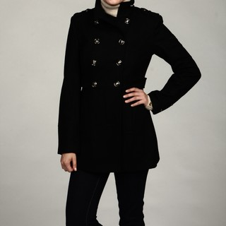 Buffalo Women's Black Wool Military Peacoat FINAL SALE | Overstock.com