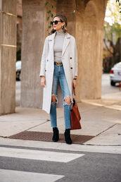 bag,tumblr,brown bag,suede,suede bag,coat,grey coat,denim,jeans,blue jeans,top,turtleneck,grey turtleneck top,boots,black boots,ripped jeans