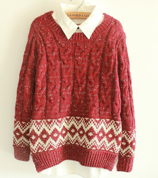 red sweater winter sweater christmas sweater