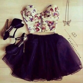 skirt cute girly heels bralette crop tops outift bra top crop top bustier floral white flowers roses