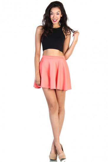OMG Cute Skater Skirt - Coral