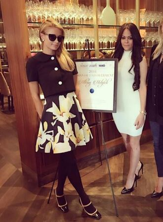 skirt blouse pumps mary jane paris hilton instagram