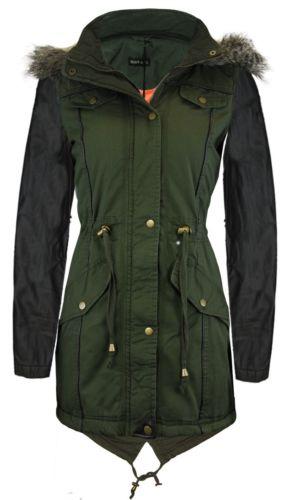 New womens oversized hood ladies parka jacket military coat 8
