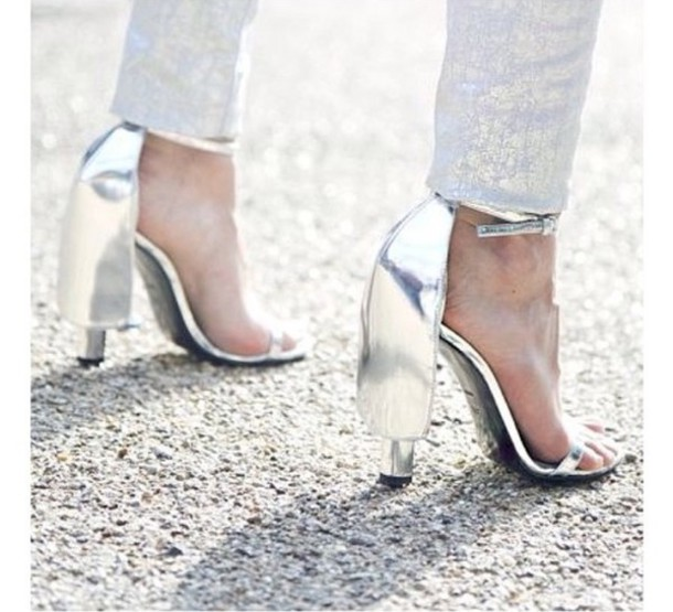 shoes silver high heels sandals