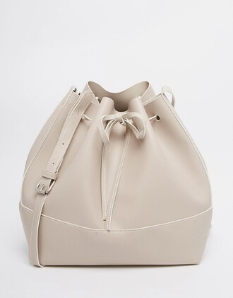 bag bucket bag beige nude nude bag leather bag