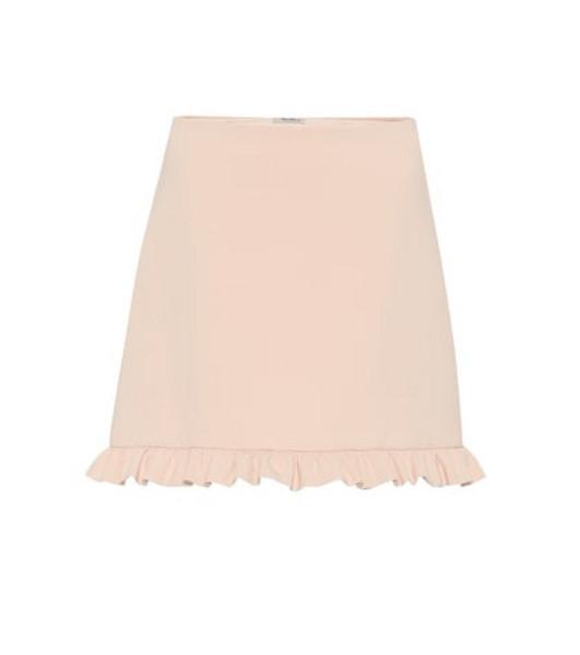 Miu Miu Ruffled crêpe miniskirt in pink
