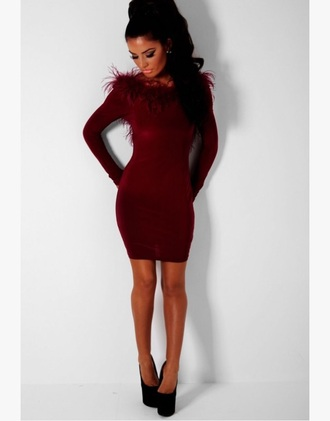 dress red dress feathers backless dress long sleeves bodycon dress burgundy