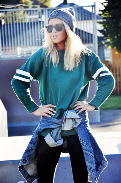 shirt green beautiful sweatshirt green sweater dark green blonde hair sunglasses white stripes top clothes
