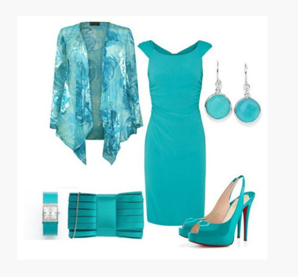 dress clothes teal dress aqua high heels medium dress short sleeves cap sleeves cardigan long sleeve cardigan turquoise bag clutch peep toe heels sling back heels peep toe sling back heels teal heels earrings watch outfit