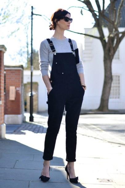pants grey shirt black overalls black heels blogger sunglasses