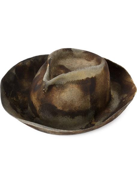 973cc11a6a3ad0 Horisaki Design & Handel Horisaki Design & Handel - burned effect fedora hat  - women - Rabbit Fur Felt - 56, Brown, Rabbit Fur Felt