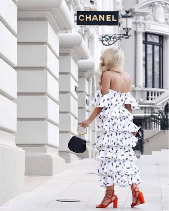 dress tumblr off the shoulder off the shoulder dress ruffle ruffle dress maxi dress bag sandals sandal heels red sandals