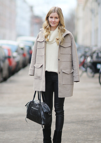passions for fashion blogger winter coat oversized turtleneck sweater leather pants black bag