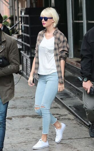 jeans skinny jeans ripped jeans taylor swift sneakers shirt plaid shirt plaid shoes sunglasses