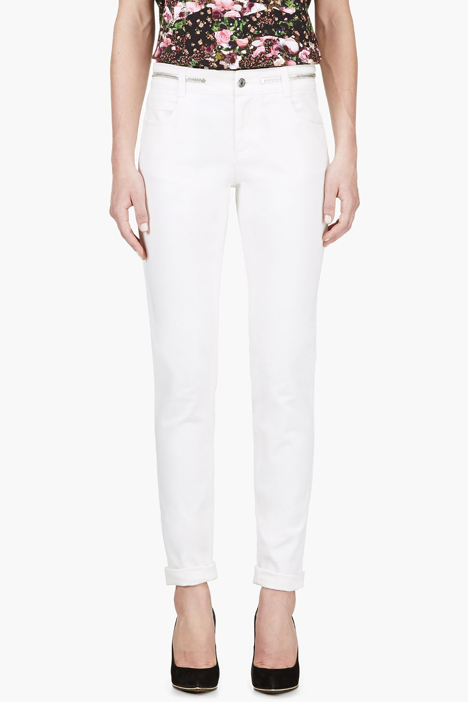 Givenchy ivory white zip_waist jeans