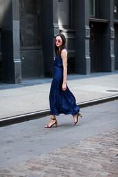 the glam files,blogger,sunglasses,shoes,blue dress,maxi dress,thick heel,aviator sunglasses,royal blue dress