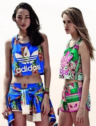 adidas adidas sweats flowered shorts shirt shorts top adidas wings