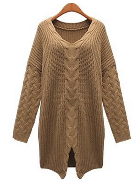 Split twist knitted sweater