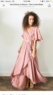 dress,pink,embroidered sleeves,high lo,maxi dress,floral maxi dress,mauve,blush pink,bell sleeves