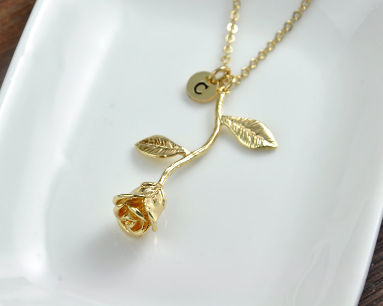 abe0a5cdebf Gold Rose Necklace