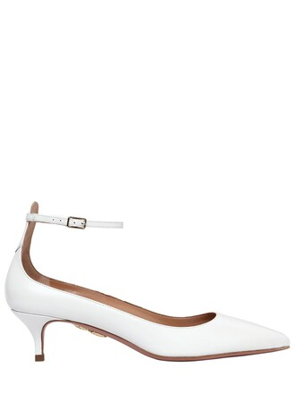 pumps leather white shoes
