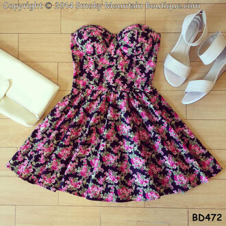 sexy dress floral dress short dress short party dresses short prom dress bustier dress dress