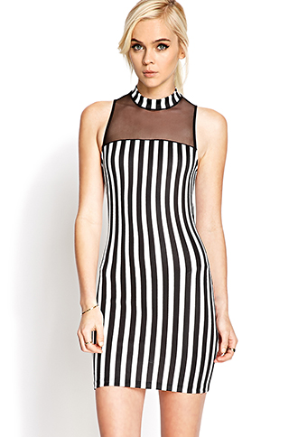 Mod Mesh Striped Dress | FOREVER21 - 2000065654