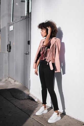style me grasie blogger jacket top jeans shoes sneakers pink jacket black pants fall outfits