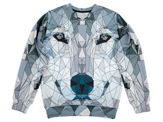 sweater printed sweater sweatshirt geometric art geometric sweater wolf sweater wolf print wolf print sweater wolf sweatshirt geometric print sweater winter sweater fall sweater geometric