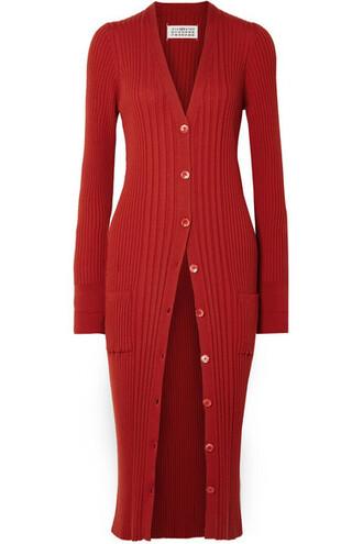 cardigan wool red sweater