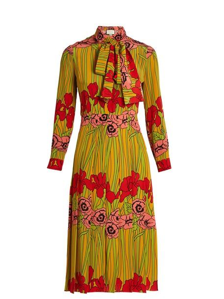 gucci dress silk dress print silk yellow